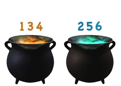 Bubbling Cauldrons (single digit addition)