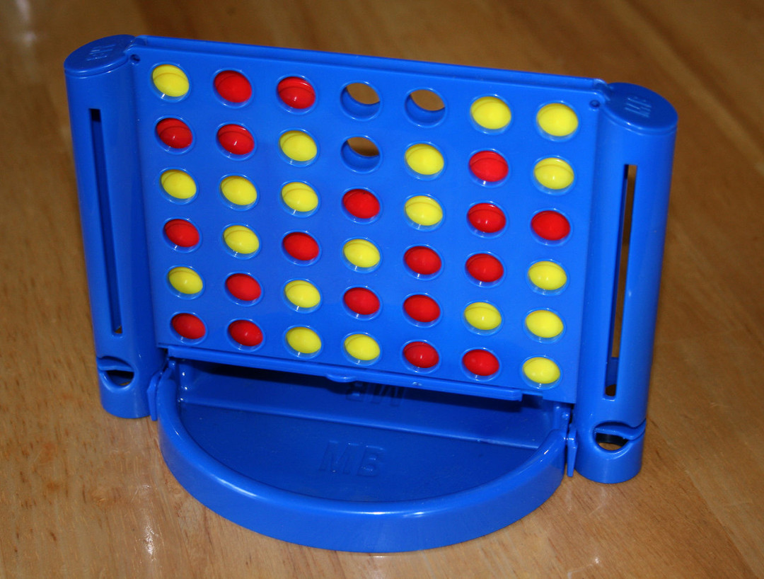 Connect 4 (2 players; 5 minutes; ages 5+)