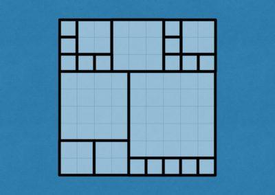 Square Sardine Packing (percentages, algorithm)